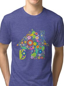 Floral colorful abstract  Tri-blend T-Shirt