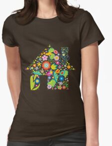 Floral colorful abstract  Womens Fitted T-Shirt