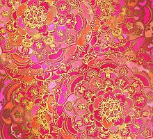 Hot Pink and Gold Baroque Floral Pattern by micklyn