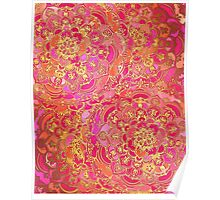 Hot Pink and Gold Baroque Floral Pattern Poster