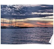 Cloudy sunset yachts Poster