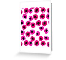 poppies bright pink hot prink modern minimal abstract painting watercolor painting fun summer happy Greeting Card