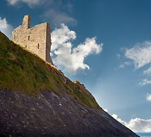 ballybunion castle on the cliff face by morrbyte