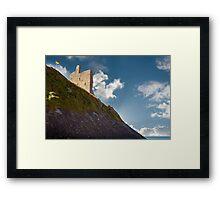 ballybunion castle on the cliff face Framed Print