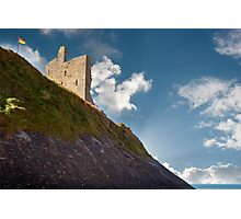 ballybunion castle on the cliff face Photographic Print