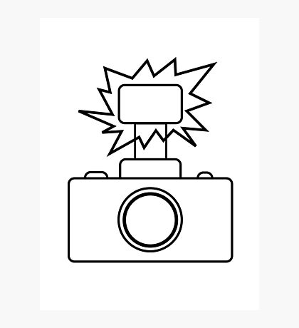 Camera SLR Flash_outline Photographic Print