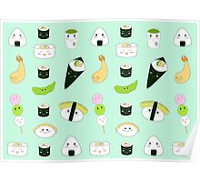 Kawaii Bento Box Print - Mint Poster