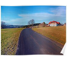 Country road, scenery and blues sky | landscape photography Poster