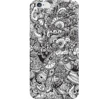 Black and white zentangle inspired art, Detailed rectangle, b&w doodle iPhone Case/Skin