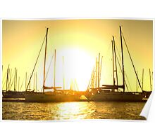 Golden sky over yachts Poster