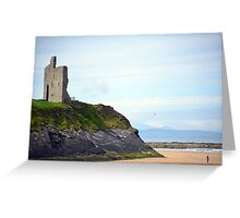 ballybunion castle on the cliffs of a beautiful beach Greeting Card