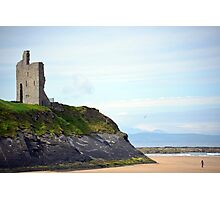 ballybunion castle on the cliffs of a beautiful beach Photographic Print