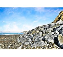 beach and boulders at ballybunion Photographic Print