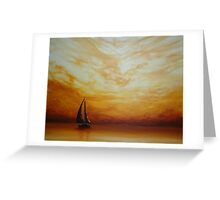 Golden Sunset Sailing Greeting Card