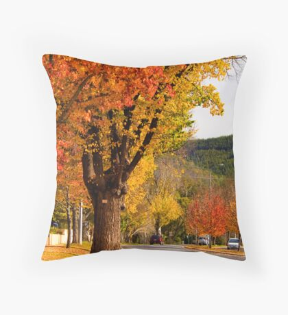 A tree lined street in Bright Throw Pillow