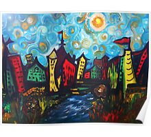 Whimsy Town and Swirl Sky Poster