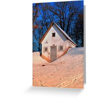 Small cottage in winter wonderland | architectural photography Greeting Card