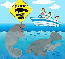 Boat Slow Manatees Below by PepomintNarwhal