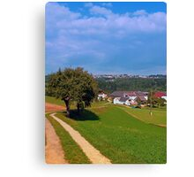 Old tree, small village, beautiful panorama | landscape photography Canvas Print