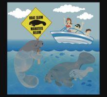 Boat Slow Manatees Below One Piece - Short Sleeve