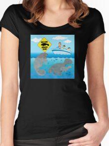 Boat Slow Manatees Below Women's Fitted Scoop T-Shirt