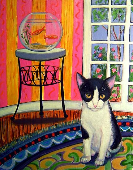 Tuxedo cat at home by Gayle Bell