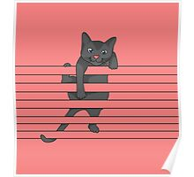 Cat climbing with pink background Poster