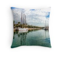 Yachts and Palm Trees - Impressions of Barcelona  Throw Pillow