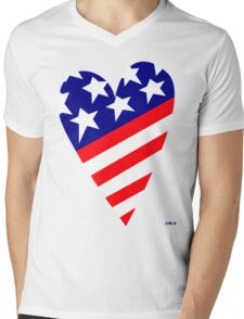AMERICA'S CARING HEART Mens V-Neck T-Shirt