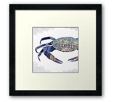 Rusty Blue Crab & Lace Mashup Framed Print