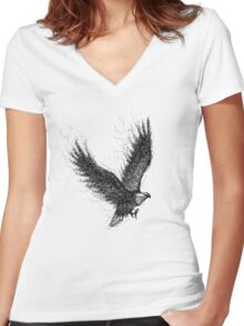 Eagle Curl Abstract Women's Fitted V-Neck T-Shirt