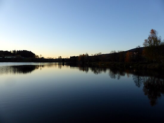 Indian summer sunset at the fishing lake IV   waterscape photography by Patrick Jobst