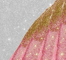 Girly Sparkly Pink and Gold Faux Glitter on White  by Blkstrawberry