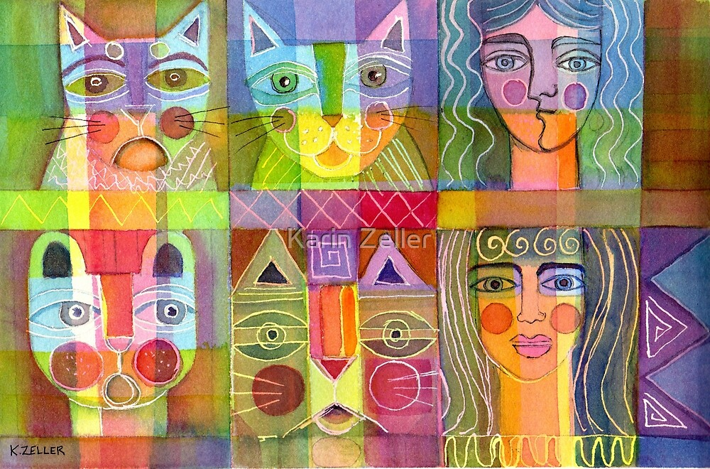 4 cats and 2 ladies by Karin Zeller