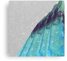 Girly Sparkly Teal, Blue, and Black Faux Glitter Canvas Print
