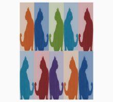 Silhouette Cat Collage Pattern New Media Art Kids Tee