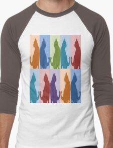 Silhouette Cat Collage Pattern New Media Art Men's Baseball ¾ T-Shirt