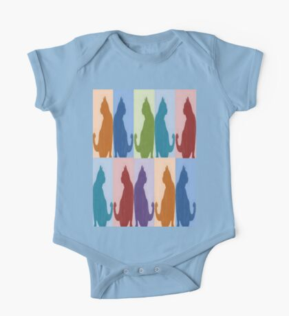 Silhouette Cat Collage Pattern New Media Art One Piece - Short Sleeve