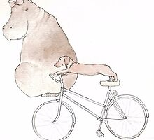 Hippo and Dog out for a bike ride by CharDonovan