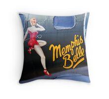Memphis Belle Nose Art Throw Pillow