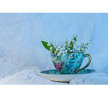 Lily Valley Tea Cup Photographic Print