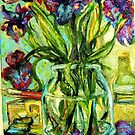 IRIS, PAINT BOX, VARNISH, PAINT TUBES AND BRUSHES by Barbara Sparhawk