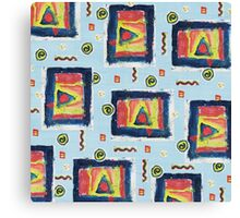 Chique Geometry in Blue Canvas Print