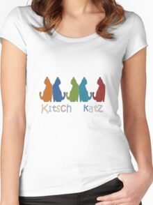 Kitsch Cats Silhouette Cat Collage Pattern Isolated Women's Fitted Scoop T-Shirt