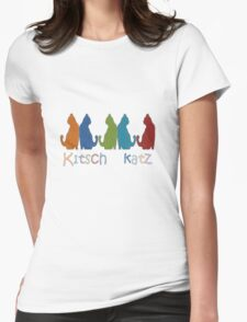 Kitsch Cats Silhouette Cat Collage Pattern Isolated T-Shirt