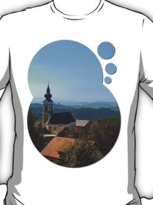 Village church, skyline and panorama | landscape photography T-Shirt