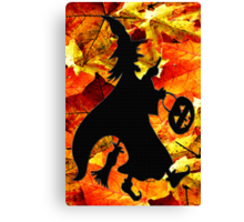 Halloween Witch and Fall Leaves Card Canvas Print
