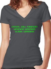 Danger, Will Robinson! Warming! Women's Fitted V-Neck T-Shirt