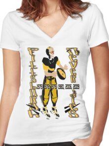 Pittsburgh Never Dies Women's Fitted V-Neck T-Shirt