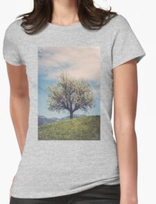 Blossom tree on a hill in Switzerland Womens Fitted T-Shirt